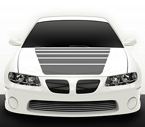 Grandora Autoaufkleber Streifen schwarz matt Auto Tuning Motorhaubenaufkleber Sport Tattoo Motorhaube X7010