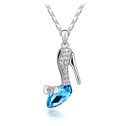 Hen night Austrian Crystal Necklace Cinderella and Slipper Blue