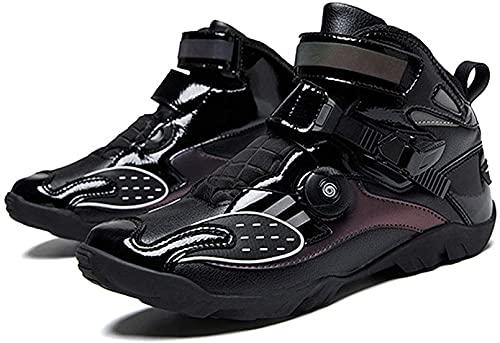NBXLHAO 4 estaciones Speed Riding Shoes Off Road Botas de moto Racing Mountain Ciclismo Botas cortas Force Invierno Deportes Deportivos Mujer Hombres Motorradschuhe,Negro,44