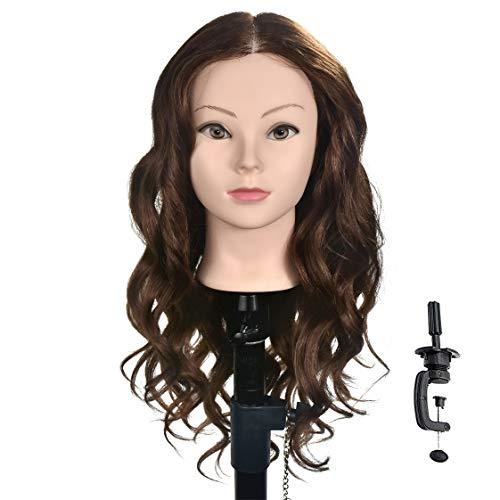 Testa per parrucchieri con capelli 100% umani, per esercitazione parrucchieri, cosmetologia (staffa per fissaggio al tavolo inclusa), 50,8-55,8 cm