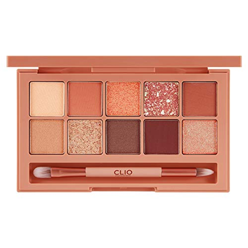 CLIO Pro Eye Shadow Palette | Matte, Shimmer, Glitter, Pearls, Highly Pigments, Long-Wearing | Street Brick (#04)