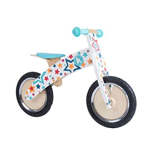 Kiddimoto Kurve Kids Wooden Balance Bike - 3-5 Years - The Easiest Way To Teach Kids To Ride - Stars