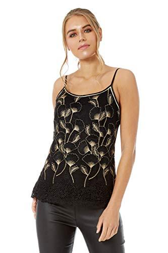 Romeinse originelen vrouwen gehaakte zoom geborduurd vest Top - dames partij uitgaan avond speciale gelegenheid datum nacht disco sparkelen bloemige strappy camisole vest tops