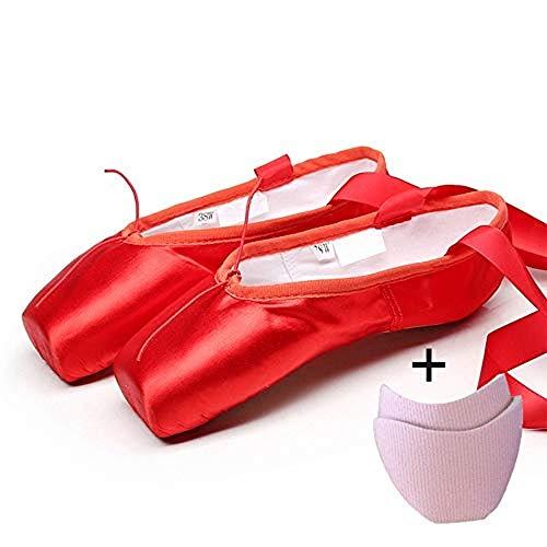 Zapatillas de Ballet de Punta Zapatos Satén/Lienzo con Puntera de Gel de Silicona/Esponja y Cintas para Niñas (por Favor Seleccione una Talla más Grande)