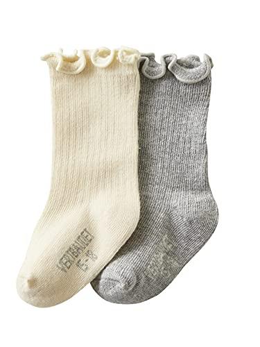 Vertbaudet – Juego de 2 pares de calcetines altos para bebé niña Oeko Tex®, color gris jaspeado 23/26
