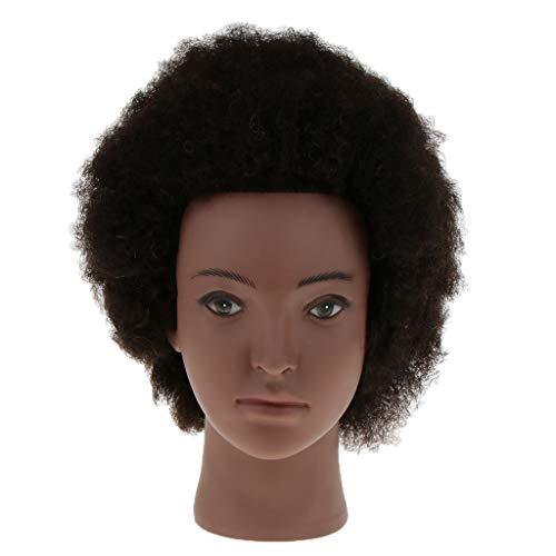 D DOLITY Tête d'Exercice Afro Professionnel Vrais Cheveux Yak/Têtes d'Exercice Coiffure 19,7 Pouces-Noir