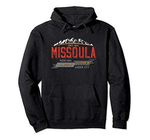 Missoula Montana Retro Mountains GPS Coordinates Souvenir Pullover Hoodie