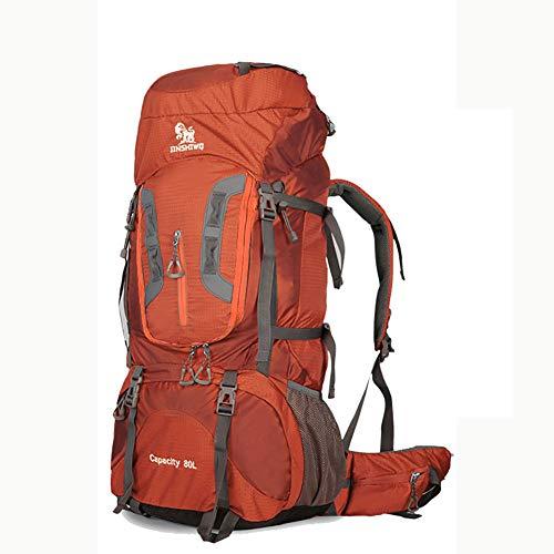ZAJY 80L Extra Large Trekkingrucksäcke, Durable Alu-Halterung Outdoor Daypack Wasserdicht Und Reißfest Wanderrucksäcke Geeignet Zum Klettern Campingzelt Wanderreise,Orange