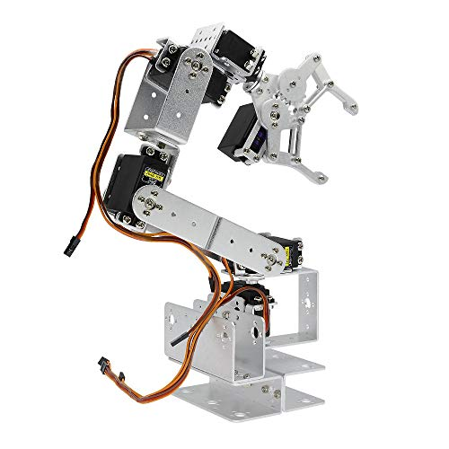 diymore Silver ROT3U 6DOF Aluminium Robot Arm Mechanical Robotic Clamp Claw Kits for Arduino(Unassembled Parts Without Servos)