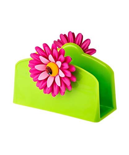 VIGAR Flower Power Servilletero, Material: Polipropileno y Goma, Verde, Dimensiones: 14 x 6 x 10 cm