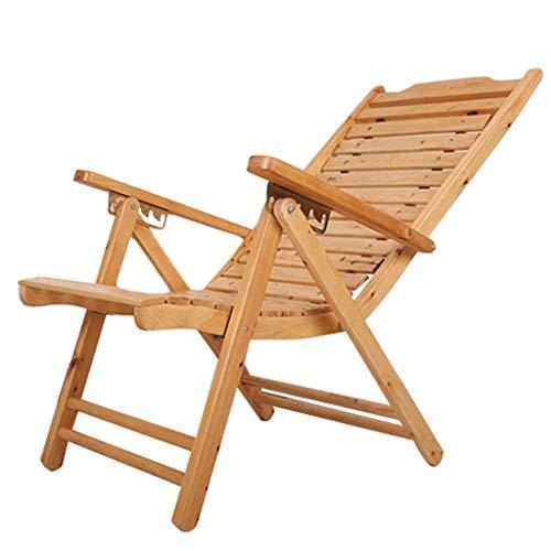 Gezellige ligstoel Strandwerf Zwembad Opvouwbare Ligstoel Verstelbare Chaise Houten Lounge Stoel Binnen of Outdoor Relax Stoel