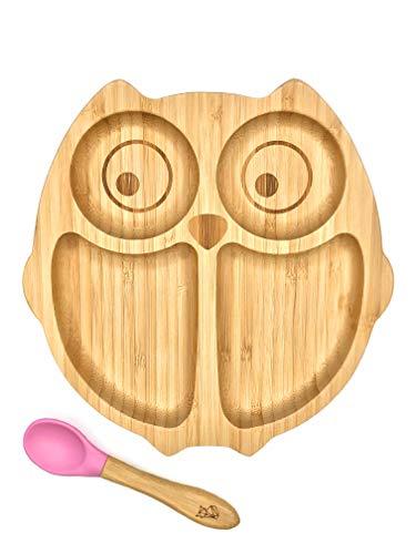 **NEU** KLEINER FUCHS präsentiert | Babyteller aus Bambus mit rutschfestem Saugnapf inkl. passendem Baby-Löffel | Hochwertiges Babygeschirr Set in einer stylischen Geschenk Box (Eule)