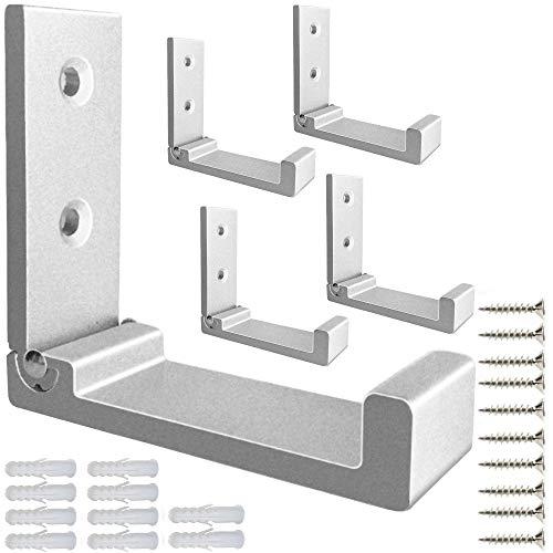 Ganchos plegables de aleación de aluminio resistentes para colgar abrigos, no se oxidan, montados en la pared, con 10 tornillos para llaves, toallas, sombreros, bolsas, 5 unidades