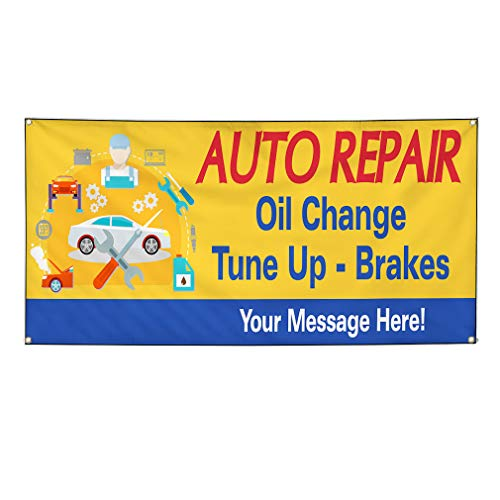 Custom Industrial Vinyl Banner Multiple Sizes Tune-Up Brakes Oil Change C Personalized Text Here Automotive Outdoor Weatherproof Yard Signs Yellow 10 Grommets 56x140Inches