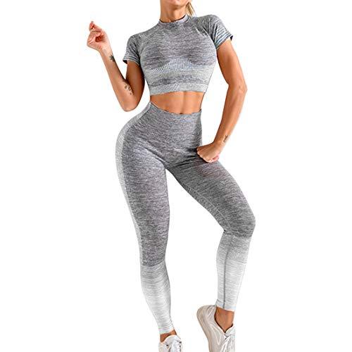Conjunto Yoga Ropa Fitness Conjunto Deporte Mujer Pantalones Leggings De Yoga Súper Elásticos Sin Costuras y Camiseta Deportiva De Manga Corta Sin Costuras para Mujeres Gym Running Yoga (Blanco, M)