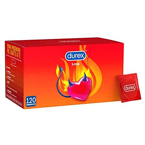 Durex Love Preservativi Lubrificati con Forma Easy-On e Circonferenza Close-Fit Facili e Veloci da Indossare - 120 Profilattici