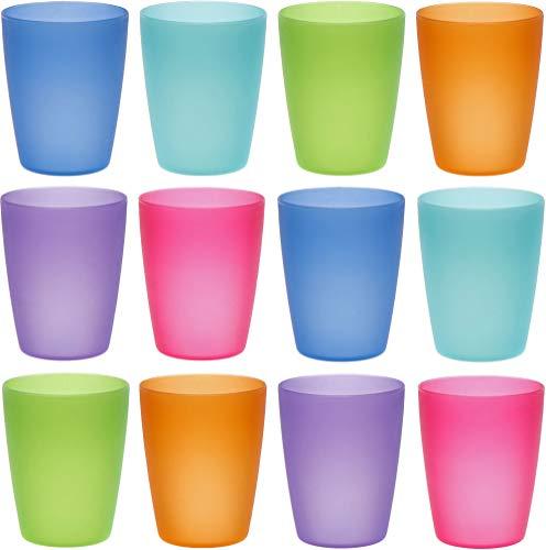 idea-station Neo Bicchieri plastica 12 Pezzi, 250 ml, Colorati, riutilizzabili, infrangibili, Rigida, Bambino, Bambini, Campeggio, Acqua, Birra