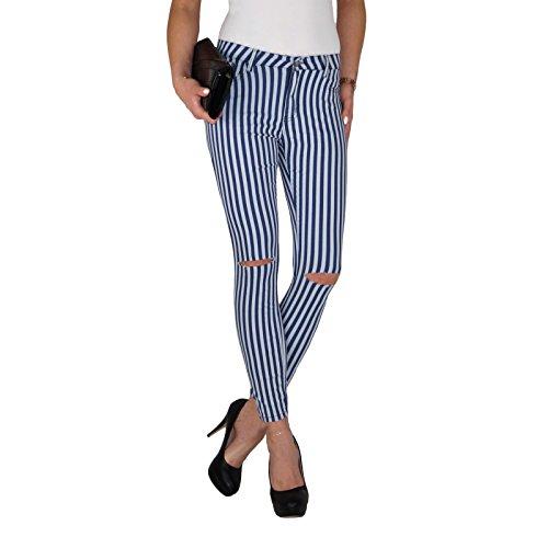 Dresscode-Berlin DB Damen Stretch Röhrenjeans mit Streifen und Rissen am Knie in blau grau (L / 40, Blau)