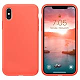 OUXUL Case for iPhone X/iPhone Xs case Liquid Silicone Gel Rubber Phone Case,iPhone X/iPhone Xs 5.8 Inch Shockproof Full Body Slim Soft Microfiber Lining Protective Case(Nectarine)