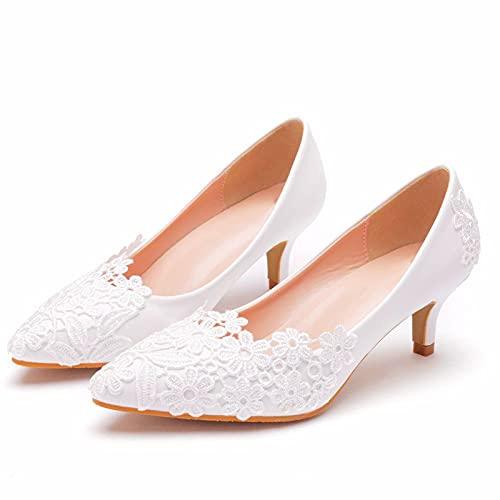 LK-HOME Zapatos De Novia, Elegantes Y Sencillos Zapatos De Boda De Encaje...
