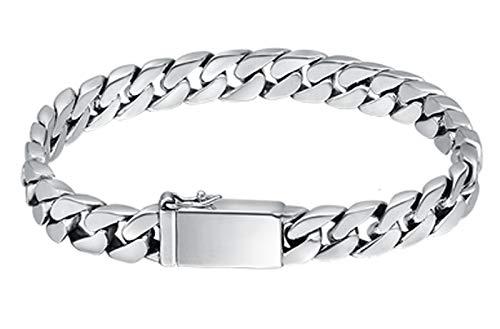 XIRENZHANG Pulsera de plata de ley S925 con cadena de personalidad moderna para hombres y mujeres, letras luminosas, 19 cm