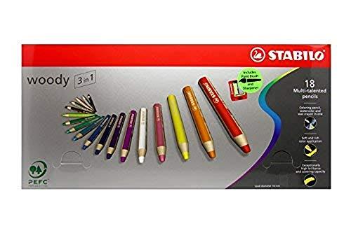 Multitalent Bleistift STABILO woody 3-in-1 Box Set mit 18 Farben sortiert + Spitzer & Pinsel
