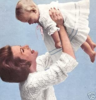 Vintage Knitting PATTERN to make - Knitted Mom Baby Bed Jacket Sweater Baby Dress Sacque Kimono. NOT a finished item. This is a pattern and/or instructions to make the item only.