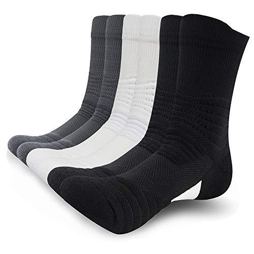 SUNWIND Unisex 6 Pairs Elite Sportsocken Atmungsaktive Basketball Laufensocken Komfortable Kompressions Socken für sportliche Männer und Frauen (Schwarz/Weiß/Grau, 39-44)