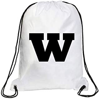IMPRESS Drawstring Sports Backpack White with Rockwell Letter W