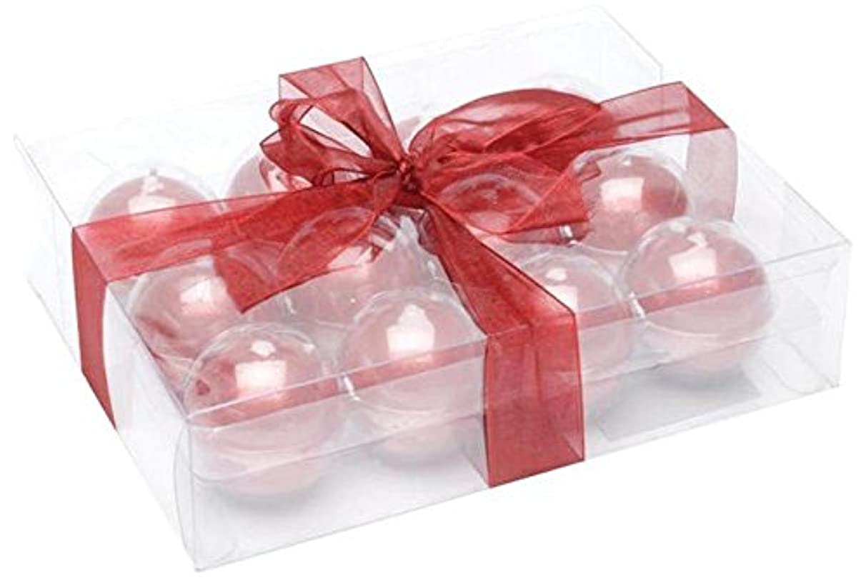 Biedermann & Sons Metallic Ball Candles, Box of 12, Red, 1.5-Inch Diameter