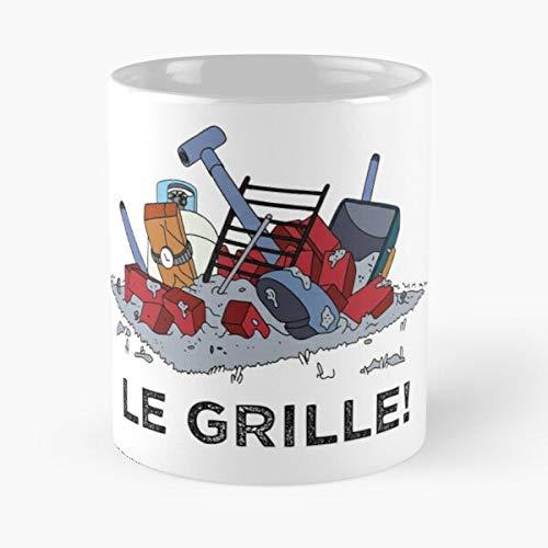 FISHOP Pit BBQ Simpsons Angry Rage Gag Homer Grill Best Mug hält Hand 11oz aus weißer Marmorkeramik