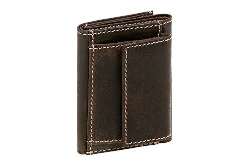 Cartera pequeña para señores Monedero para señoras Vintage Style Used Look LEAS, Piel auténtica, marrón Vintage-Collection