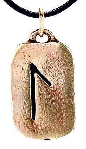 Kiss of Leather Runen Anhänger Laguz aus Bronze mit Baumwollband