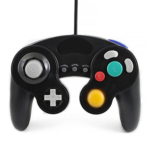 QUMOX Controlador Mando de Juego con Cable clásico Joypad Gamepad para Nintendo Gamecube gc y Wii, Negro (función Turbo Lenta)