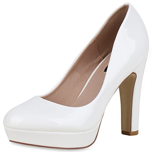 SCARPE VITA Damen Plateau Pumps Lack High Heels Stiletto Party Abendschuhe 162775 Weiss Lack 40