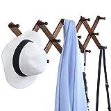 "OROPY Wooden Expandable Coat Rack Hanger, Wall Mounted Accordion Pine Wood Hook for Hanging Hats, Caps, Mugs, Coats, X Shape, 27""×10"", Walnut Color"
