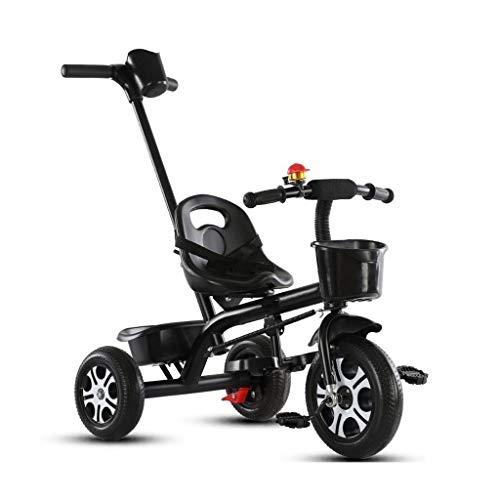 ZJJ Landaus Poussette de bébé, Tricycle for Enfants, Voiture de Jouet Poussette Enfant bébé, bébé vélo 2-3-4-6 Ans Poussettes (Color : Black)