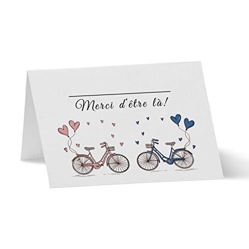 Partycards marca Place para boda, bautizo, cumpleaños o Navidad   portanombres de mesa de papel – 50 tarjetas de nombre A7 (modelo: bicicleta) – Juego de 25 unidades