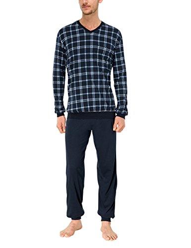 Schiesser Herren Schlafanzug lang mit Bündchen Zweiteiliger, Blau (blau 800), Gr. L (Herstellergröße:52)