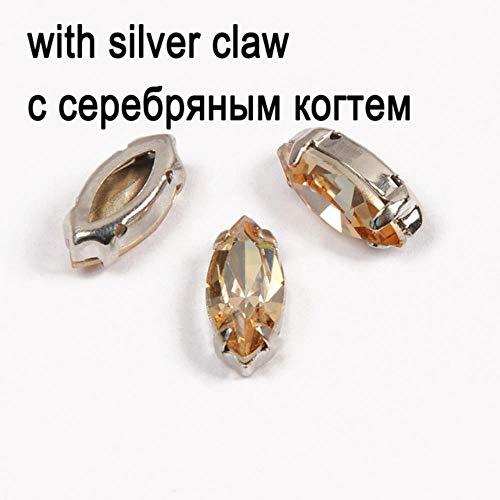 Navette vorm glas zilver basis strass kristal goud oogschaduw stenen kleur op strass stenen met knopen voor gerechten en knutselen, kristalglas met zilver, 4 x 8 m 45 stuks