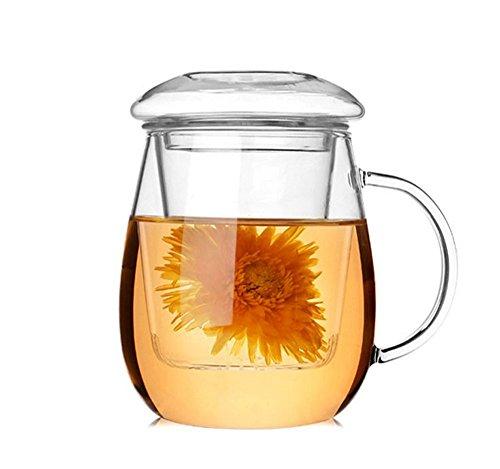 Tasse en verre transparente résistante à la chaleur et infuseur à thé Asentech UK® 500 ml - Pour thé en vrac ou en fleur