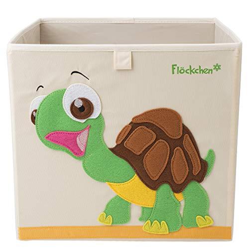Flöckchen Kinder Aufbewahrungsbox, Spielzeugbox für Kinderzimmer I Spielzeug Box (33x33x33) passt ins Kallax Regal I Kinder Motiv Tiere (Sophie die Schildkröte)