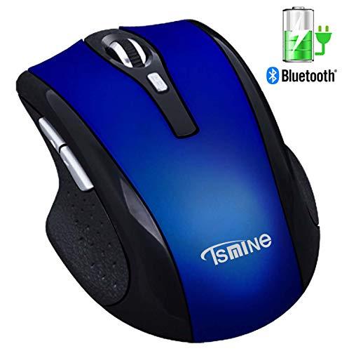 Mouse wireless Bluetooth silenzioso ricaricabile - Mouse muto silenzioso Tsmine, 3 DPI regolabili, 6 pulsanti per laptop, Macbook 2017 e tablet con sistema operativo Android, blu