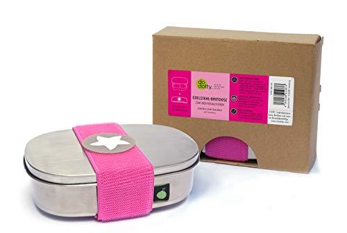 kjomizo I do dottyBOX Edelstahl Brotdose MIT Trennsteg und Klettmotiv zum Individualisieren für Kindergarten und Schule I PINK