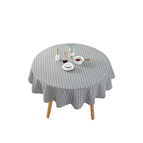 Table Cloth,End Tables Plaid Table Cover,60' Round Tabletop Collection,Cotton Linen Twill Floral Tablecloth Washable Dining Decorative Used for Table of 20-48' Diam,Party Picnic (Gray- Arrow)