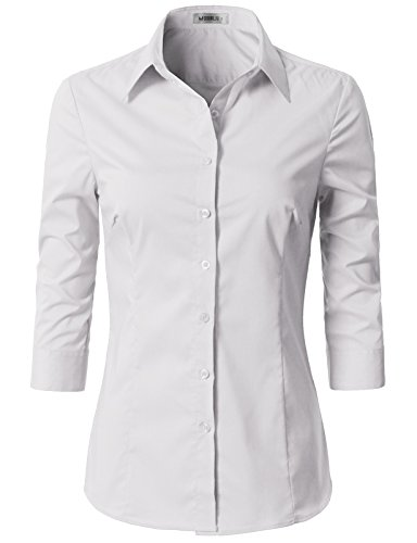 Doublju Womens Slim Fit Business Casual 3/4 Sleeve Button Down Dress Shirt White Small