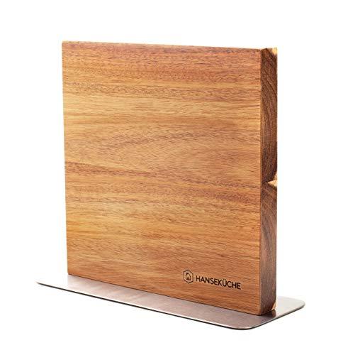 Hanseküche Messerblock magnetisch aus Akazienholz - Doppelseitiger Messerhalter ohne Messer mit Magnet aus Holz Messerbrett beidseitig