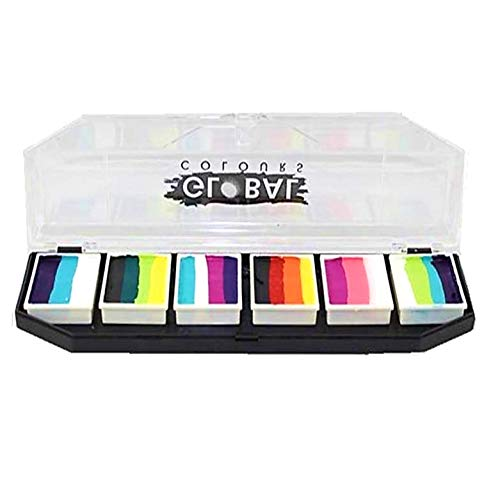GLOBAL BODY ART Professional Quality Rainbow Burst Face Painting Palette | Hypoallergenic Safe Non-Toxic - Water Activated Makeup Face Paint Kit for Kids & Adults | Perfect Gift & for Birthday Parties
