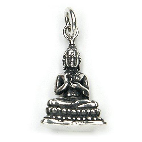 Buddha Schmuck Anhänger 925er Silber, Länge mit Öse: 2,5cm Silberschmuck buddhistisch