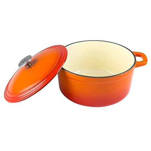 Zelancio Cookware 6-Quart Enameled Cast Iron Dutch Oven Cooking Dish with Self-Basting Lid, Tangerine Orange
